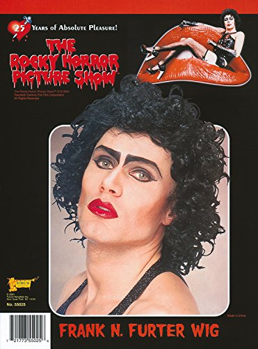 Mens Frank N Furter Rocky Horror Black Curly Wig Halloween Drag Stag Do Night Funny Fancy Dress Costume Outfit Accessory -