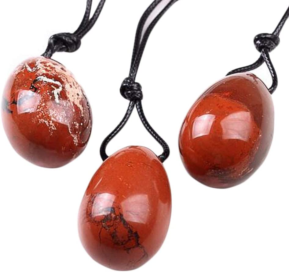 Juanxian W3495 - Colgante de cristal de jaspe rojo natural de 30 x 20 mm con huevo pulido Yoni para la salud de las mujeres