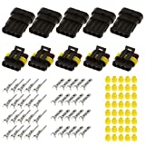 KINWAT 15 Sets IP68 Waterproof Connector 2/3/4 Pins Way Sealed Electrical Wire Plug Set for Auto Car Motorbikes Accessories