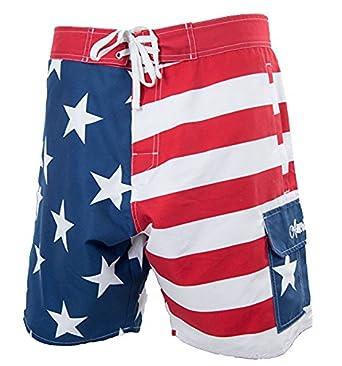 471c34e7600 Calhoun Men s USA Stars Stripes Boardshorts - Red