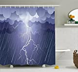 Home Decor Shower Curtain by Ambesonne, Lightning Strike Thunderstorm in Air at Dark Night Rainy Electric Force Flashes Image, Fabric Bathroom Decor Set with Hooks, 70 Inches, Lavander