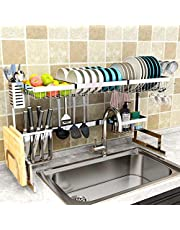 "Dish Drying Rack Over Sink(24""-40""), Adjustable Large Dish Drainer for Kitchen Storage Counter Organization, 2 Tier Stainless Steel Over Sink Dish Rack Display (24≤Sink Size≤40inch, silver)"