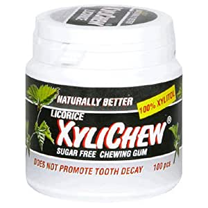 Naturally Better Licorice Xylichew, Sugar Free Chewing Gum, 100-Piece Canisters (Pack of 2)