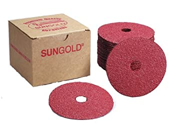 Sungold Abrasives 17304 7-Inch x 7/8-Inch Center Hole 50 Grit Aluminum Oxide Fiber Disc, 25-Pack