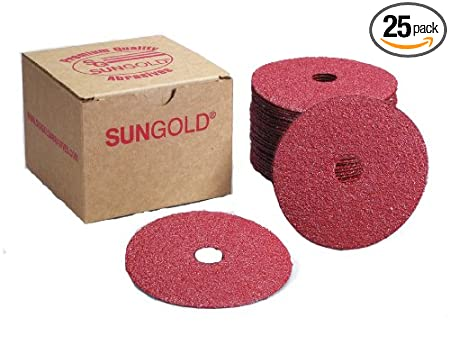 Sungold Abrasives 17206 5-Inch x 7/8-Inch Center Hole 80 Grit Aluminum Oxide Fiber Disc, 25-Pack