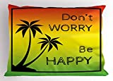 Ambesonne Rasta Pillow Sham, Don't Worry Be Happy Music Quote Iconic Singer Palms Ombre Colors, Decorative Standard Size Printed Pillowcase, 26 X 20 inches, Lime Green Yellow Black