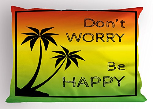 Ambesonne Rasta Pillow Sham, Dont Worry Be Happy Music Words of Iconic Singer Palms Ombre Colors, Decorative Standard Queen Size Printed Pillowcase, 30