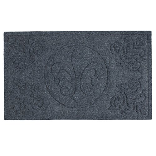 (DII CAMZ34866 Indoor/Outdoor Industrial, Durable Non-Slip Polypropylene Fiber, Hog Mat Easy Clean Rubber Back Entry Way Doormat for Patio, Front, Weather, Exterior Doors, 18x30, Fleur De Lis)