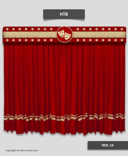 Amazon Com Saaria Ht8 Red Velvet Curtain Decor 15 Ft W X 8 Ft H