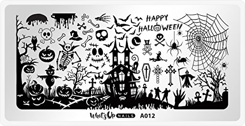 Whats Up Nails - A012 Happy Halloween Stamping Plate for Nail Art Design ()