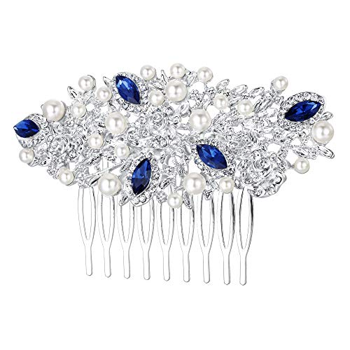 - EVER FAITH Silver-Tone Austrian Crystal Cream Simulated Pearl Flower Leaf Vine Hair Comb Blue