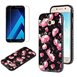 Flower Design Case for Samsung Galaxy A3 2017 A320 with Screen Protector, OYIME Vintage Floral Pattern Hard Plastic Back + Soft Silicone Glitter Rhinestones Frame 2 in 1 New Hybrid Black Cover Thin Slim Fit Protection Shockproof Scratch Resistant Shiny Bling Bumper - Wild Rose