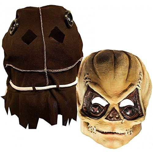 Rubie's Costume Deluxe Trick R' Treat Mask Burlap Sack, Brown, One Size (Mask Scarecrow Latex)