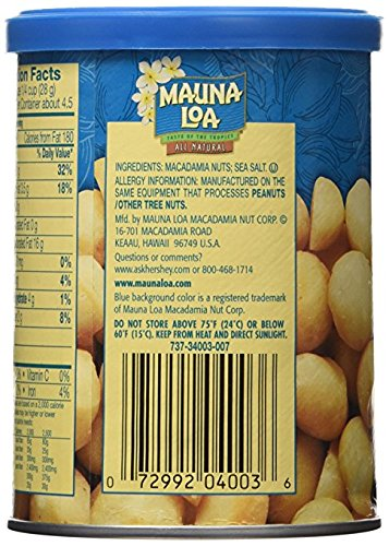 Mauna Loa Dry Roasted Macadamias With Sea Salt, 4.5-Ounce Cans (Pack of 18)