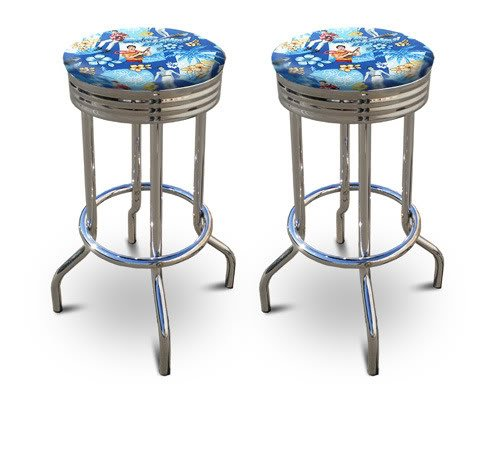 2 Blue Hawaii Elvis Presley Themed 29'' Specialty Chrome Barstools Bar Stools by The Furniture Cove