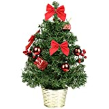 ztotop mini artificial tabletop christmas tree 18 christmas spruce tree with red ornaments - Tree Christmas