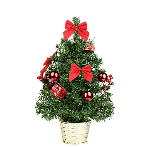 Ztotop Mini Artificial Tabletop Christmas Tree, 18 Christmas Spruce Tree with Red Ornaments