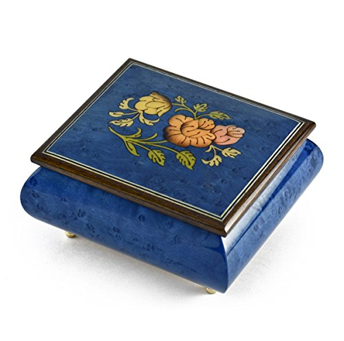 Vibrant Royal Blue Floral Wood Inlay Music Box - Heaven is in Blue Hawaii (Paul Koy) - SWISS by MusicBoxAttic