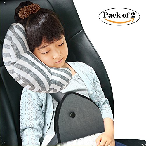 Car Seat Travel Pillow Neck Support Cushion Pad and Seatbelt Adjuster for Kids, Wo Baby Safety Belt Sleeping Pillow and Adjuster for Cars, Safety Strap Covers 2pcs