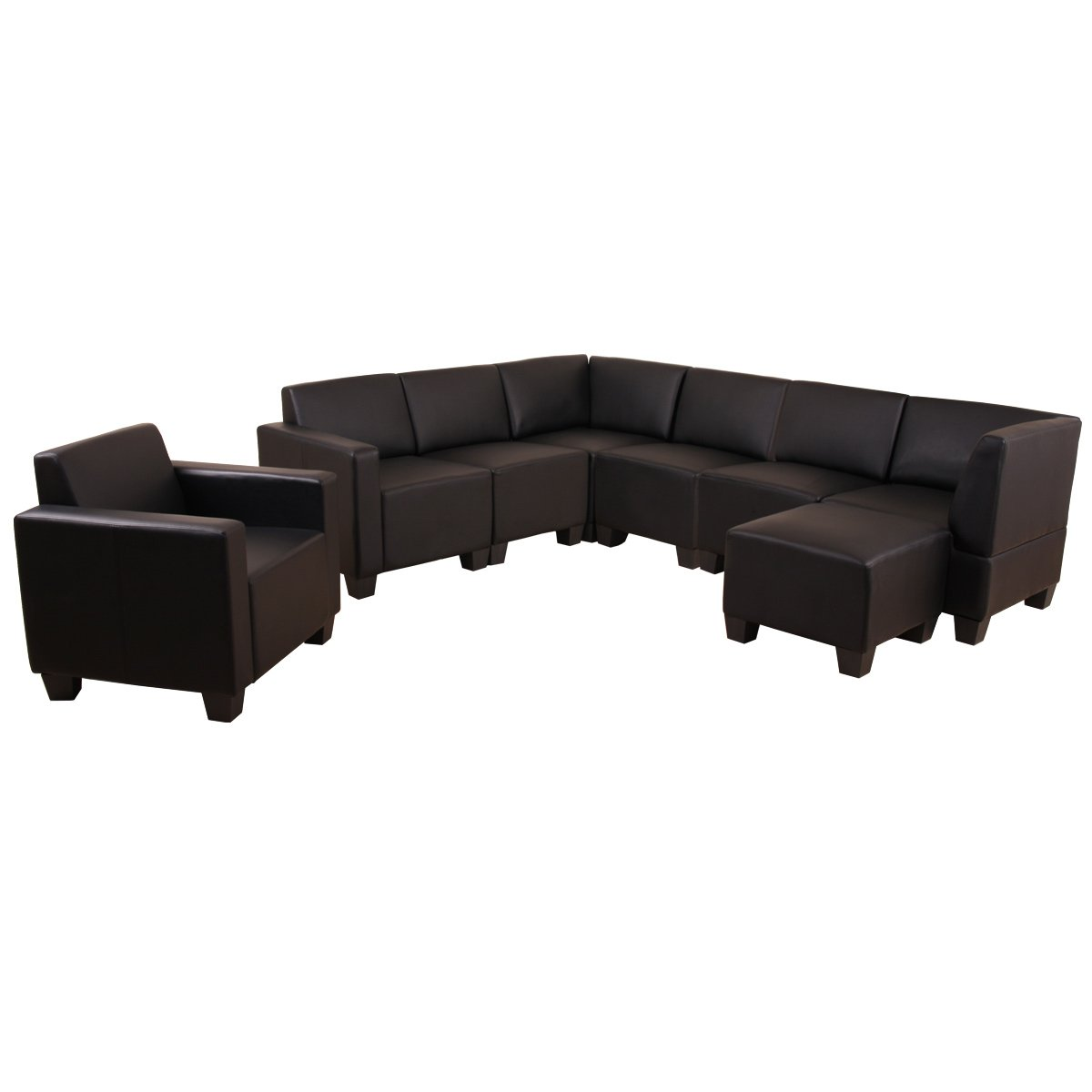 Modular Sofa-System Couch-Garnitur Lyon 6-1-1, Kunstleder ~ schwarz