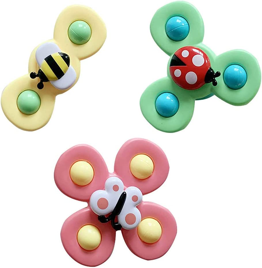 LUFFYLIVE Baby Bath Spinner Toy with Rotating Suction Cup,Suction Cup Spinning Top ,Baby Bath Toys,Cartoon Animal Rotating Suction Cups Eating Suction Cups Dining Chairs Toys Windmill 3Pcs