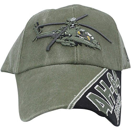 US Army AH-64 Apache Helicopter Green Adjustable Baseball Cap ()