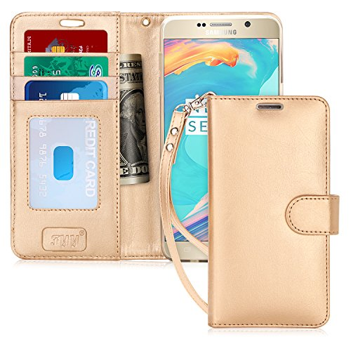FYY Luxury PU Leather Wallet Case for Galaxy Note 5, [Kickstand Feature] Flip Folio Case Cover with [Card Slots] and [Note Pockets] for Samsung Galaxy Note 5 Gold