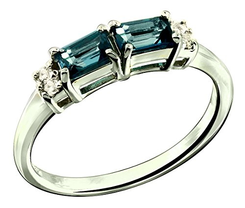 RB Gems Sterling Silver 925 Ring GENUINE GEMS (LONDON BLUE TOPAZ, GARNET) 0.92 Ct Rhodium-Plated Finish (5, london-blue-topaz) (Topaz Ring Blue Silver Plated)