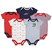 Luvable Friends Baby Infant 5 Pack Bodysuits, Fish, 9M(6-9 Months)