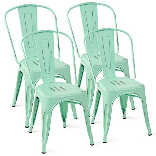 Stackable Bistro (Distressed Style Dining Side Chair Stackable Bistro Cafe Metal Green Set of 4)