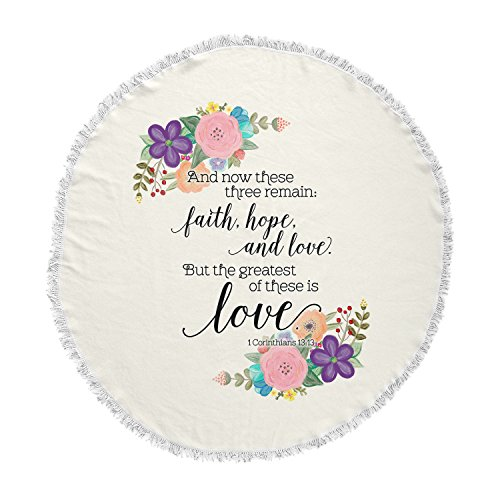 KESS InHouse Noonday Design Faith, Hope, and Love Beige Multicolor Round Beach Towel Blanket by Kess InHouse