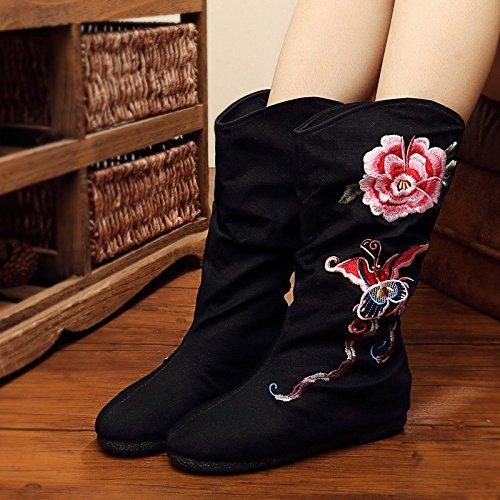 KHSKX-Los Viejos Zapatos Botas Un Bordado De Estilo Folk Botas Botas Altas Zapatos Botas De Montar El Aumento En El Ocio ZapatosTreinta Y CincoBlack