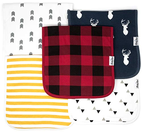 KiddyStar 5-Pack Baby Burp Cloths, Organic Cotton, Large 21
