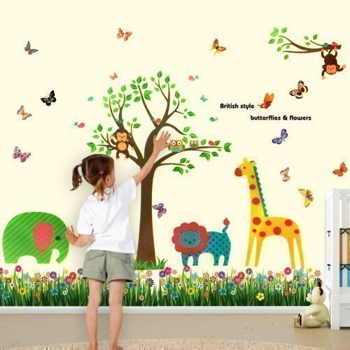 Walplus Wall Stickers Colourful Butterflies Grass Animals Tree Removable Self Adhesive Mural Art Decals Vinyl
