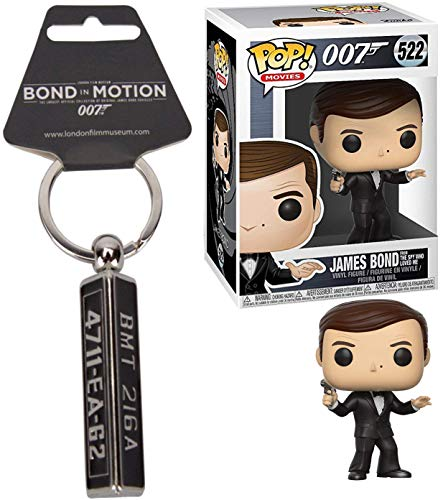 Agent James Bond Figure Collection Roger Moore Vinyl 007 Figure Spy Who Loved Me Pop + Goldfinger Aston Martin License Plate Keychain Bundle