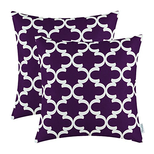 Pack of 2 CaliTime Throw Pillow Covers Cases for Couch Sofa Home Decor, Modern Quatrefoil Accent Geometric, 20 X 20 Inches, Deep Purple (Chair Accent Plum)