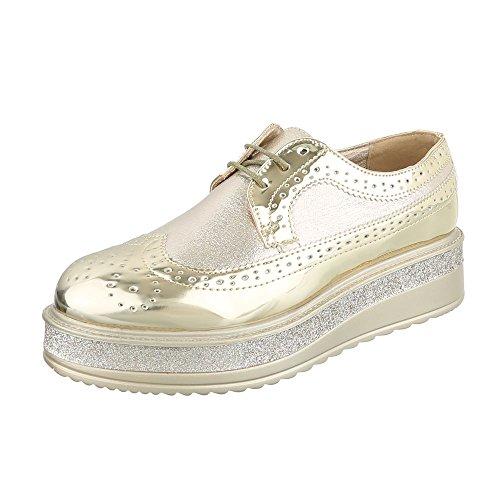dorado Planos Design Cordones con Mujer Ital Zapatos CxYd1ww