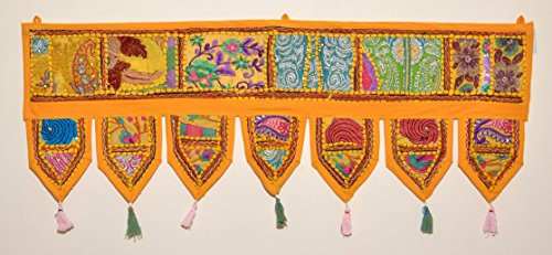 (ANJANIYA Indian Cotton Bohemian Ethnic Vintage Patchwork Door Topper Valances Window Valances Wall Hanging Boho Home Decor Hand Embroidered Toran Hippie Living Room Decor (38x13 inch) (Yellow))