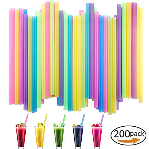 Colorful Cocktails (200 Pack Colorful Jumbo Drinking Straws BPA-Free for Smoothies,Cocktail,Milk Shakes,Bubble Pearls Tea and More,Extra Wide 2/5 Inches)