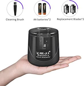Battery Powered Electric Pencil Sharpener, Fast Sharpen, Suitable for No.2/Colored Pencils(6-8mm), School/Classroom/Office/Home(2 AA batteries,2 replacement blades and 1 brush included) (BLACK)