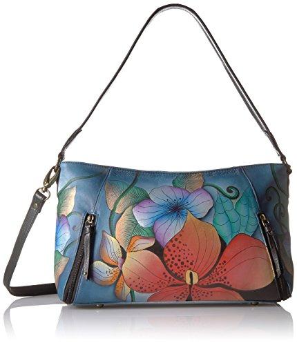 Anuschka Anna Handpainted Leather Wide Crossbody Satchel-Midnight Floral by ANUSCHKA
