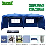 VINGLI Heavy Duty 10'x20' EZ Pop Up Canopy Tent with 6 Removable Side Wall Panels, Blue Folding Instant Wedding Party Event Commercial Gazebo W/ Carrying Case Bag