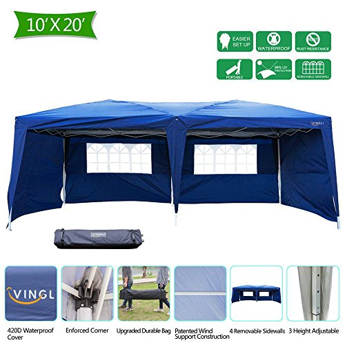 Blue Canopy Gazebo - VINGLI Heavy Duty 10'x20' EZ Pop Up Canopy Tent with 6 Removable Side Wall Panels, Blue Folding Instant Wedding Party Event Commercial Gazebo W/ Carrying Case Bag