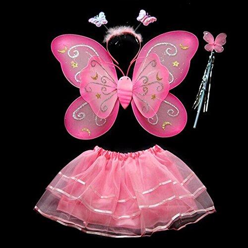 4-Pc Butterfly / Fairy Costume w Wings + Wand + Headband + Tutu Skirt Fairy Princess Kids Girls Costume - 7 Colors! - Fae Halloween Costume