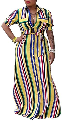 Clothing Womens Rainbow Dresses Belt (VLUNT Womens Rainbow Stripes Printed Shirt Dress Botton Down Casual Maxi Long Dress with Belt)