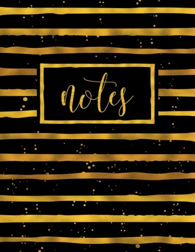 Notes: Notebook Journal & Diary with Gold Stripes on Black