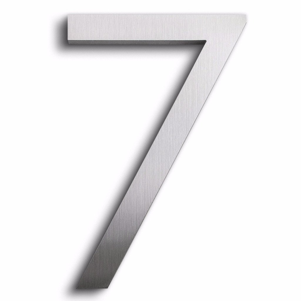Modern House Number Aluminum Modern Font Number Seven ''7'' 6 inch