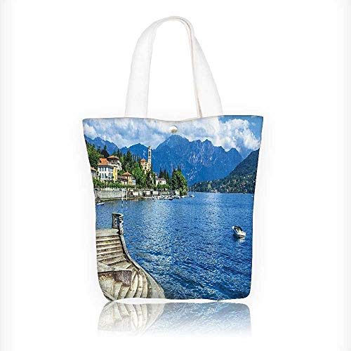 (Canvas Tote Bags ePastoral Lake Como by Rocky Cliffs Boat in River Holi Sea Shore Peace Design Your Own Party Favor Pack Tote Canvas Bags by Big Mo's Toys W11xH11xD3)