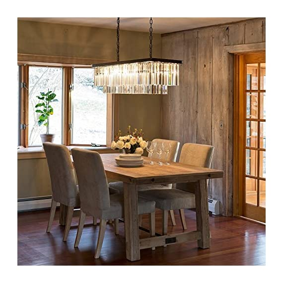 "7PM Modern Crystal Chandelier Rectangular Pendant Lighting Black Finish Light Fixture for Dining Room Kitchen Over Table - UNIQUE DESIGN: This is an elegant K9 crystal chandelier lighting. Contemporary and luxurious, the two layers of faceted rectangular crystals cascade down a black stainless steel frame giving this modern rectangular chandelier a sophisticated air. DIMENSION: Length 32"" (80CM) x Width 10"" (25CM) x Height 10"" (25CM); The hanging chain is adjustable, length is 59""(150CM) max. BULB REQUIREMENTS: 4 x E12, max 40W each (bulbs not included). Works with incandescent, LED, CFL, halogen or color changing bulbs. Fully dimmable when used with dimmable bulbs and a compatible dimmer switch (not included). - kitchen-dining-room-decor, kitchen-dining-room, chandeliers-lighting - 519SK8QIQRL. SS570  -"