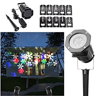 Sundaynmay Christmas Projection Lights Led Projector Snowflake Spotlight Night 10 Pattern Sparkling White Dynamic Lighting Landscape Light Show For Party Holiday Decoration